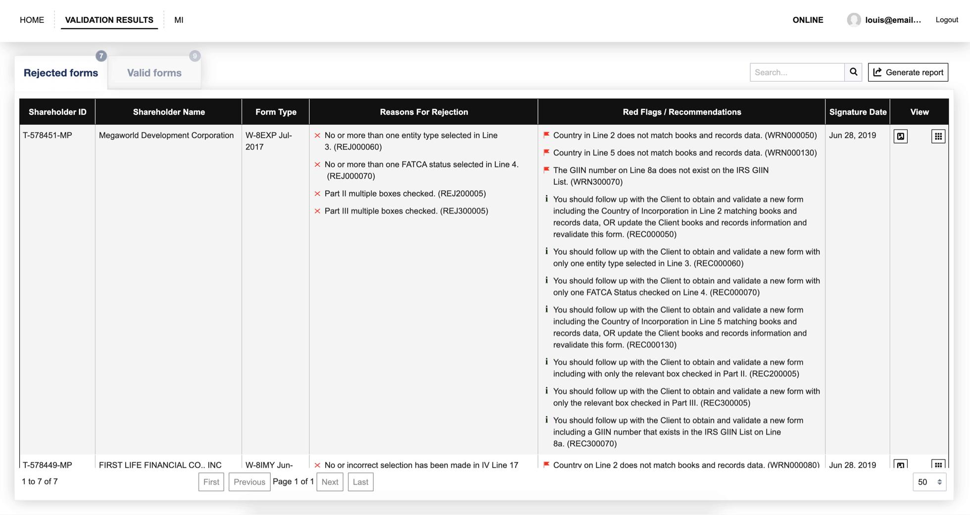 Validator results redacted
